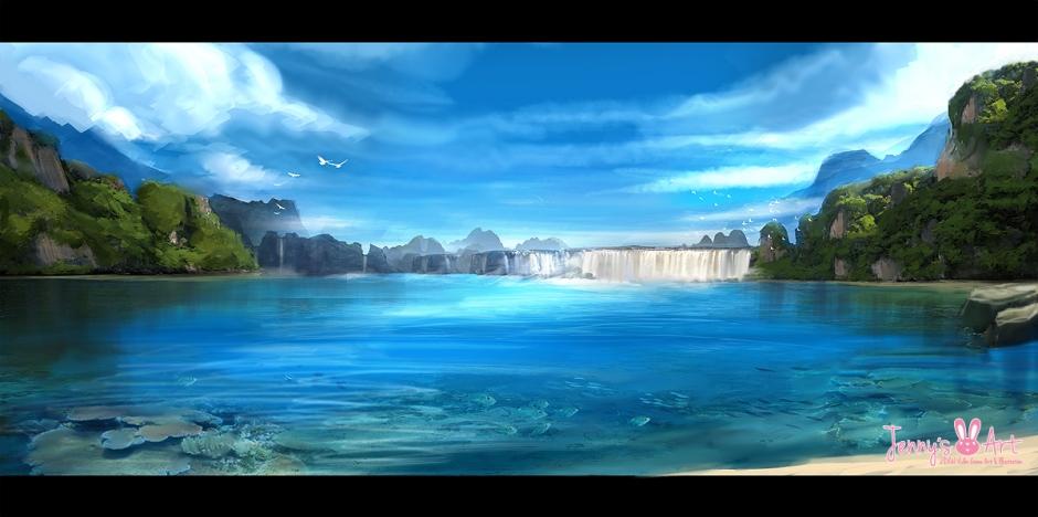 El lago de las afueras Fantasy-lake-painting1